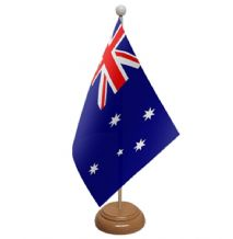 AUSTRALIA - TABLE FLAG WITH WOODEN BASE